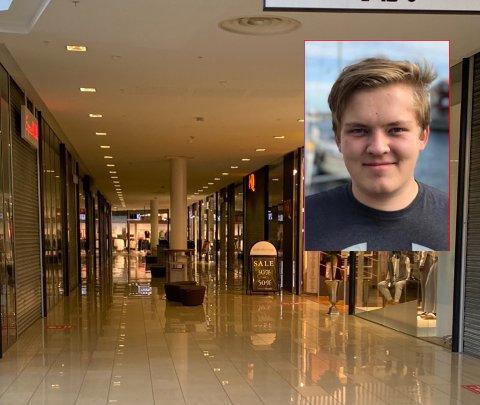 SURREALISTISK: Sarpingen Christoffer Myrvin (21) ble mildt sagt sjokkert da han i helgen besøkte Nordby shoppingsenter for første gang på et år. Til vanlig bor sarpingen i den svenske byen Karlstad.