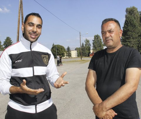 Farlig: Sabhi (t.h.) er bekymret for sin kone og de åtte barna som er igjen i Libanon.