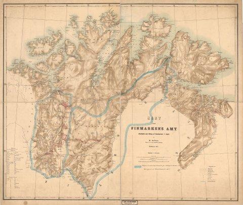 Et gammelt kart over Finnmarkens amt fra 1800-tallet. Illustrasjonsfoto