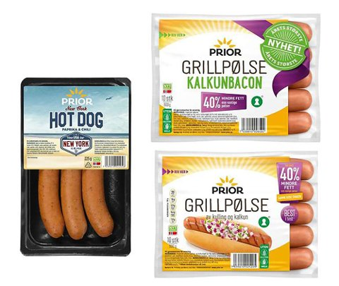 EGG: Følgende Prior-produkter har mulige rester av egg: Prior grillpølse 600g, Prior grillpølse 2x600g, Prior grillpølse kalkunbacon og Prior New York Hot dog Paprika & Chili.