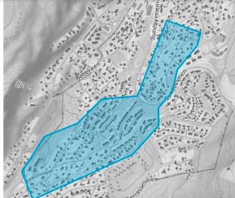 BERØRT OMRÅDE: Folk som bor i dette området rådes til å koke vannet som brukes til  matlaging og til drikkevann i det neste døgnet.