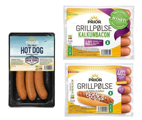 Følgende Prior-produkter har mulige rester av egg: Prior grillpølse 600g, Prior grillpølse 2x600g, Prior grillpølse kalkunbacon og Prior New York Hot dog Paprika & Chil.Foto: Nortura / NTB scanpix
