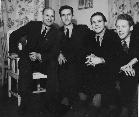 SEIER: Monrad Gulbrandsen (t.v.), Magne Sandven, Arnebass Arnesen og Per Røtvold gjorde ein kjempeinnsats for Sivorg på Notodden, inntil dei måtte røme til Sverige i 1944. Foto utlånt av familien Sandven