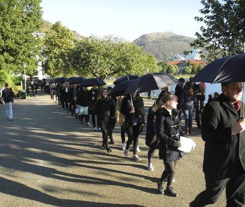 Den internasjonale organisasjonen A21 arrangerer hvert år Walk for Freedom, for å sette søkelyset på menneskehandel. Bildet er fra marsjen for to år siden. Lørdag arrangeres marsjen igjen.