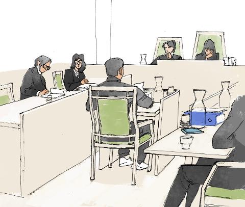 FORKLARING: Politiadvokat Sissel Kleiven stiller spørsmål til ein av dei tiltalte som forklarer seg for retten. Den tiltalte sin utsjånad er endra. (Rettsteikning: Anders Furevik)