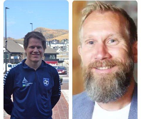 Kjetil Nedrebø (f.v) og Kurt André Askeland skal kommentere lørdagens direktesendte kamp mellom Dirdal og Gjesdal.
