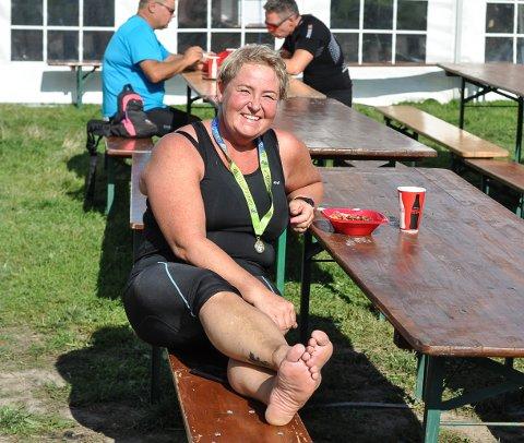 SIST I MÅL: Smilet var på plass selv om Anna-Maria Skaugen kom aller sist i mål.