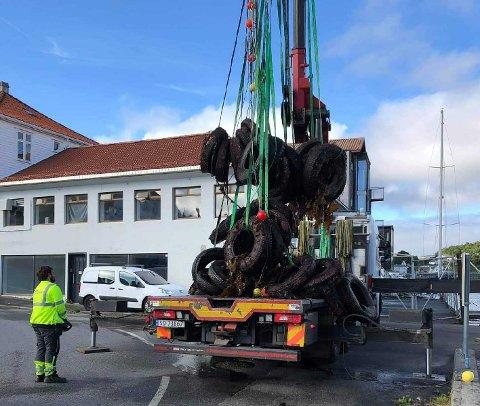 RYDDEAKSJON: Flere tonn med dekk ble hentet opp fra Vågen i Kopervik i helgen. Dykkerklubben har tatt opp rundt 130 stykk.