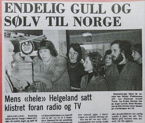 Foto Ansatte hos Reidar Flokkmann hører på radio på butikken under OL 1976. Åge Steinrud, Arnulf Tverå, Åse Evjen, Kirsten Soløy, Ella Nermo, Rune Mortensen og Inger Larsen