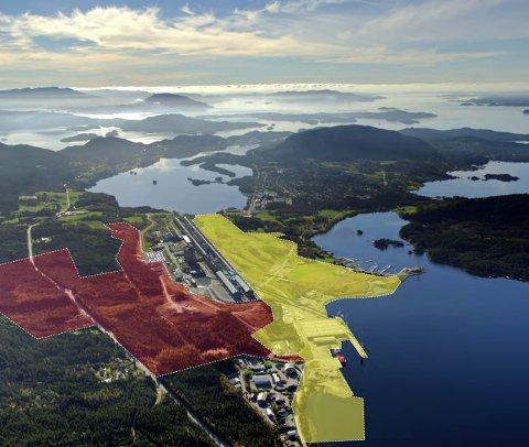 SKISSE: Slik ser kommunen føre seg at batterifabrikken kan plasserast. Stripo Eigedom AS sitt område er merka med gult i nedste bildekant. (Foto: Skjermdump)