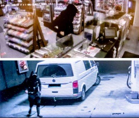 RANET SHELL: Disse to overvåkningsbildene viser mannen da han ranet Shell. I den stjålne bilen lå det en rifle og ammunisjon. Bildet ved kassa viser at mannen holder hånda i lomma og at han peker med fingeren.