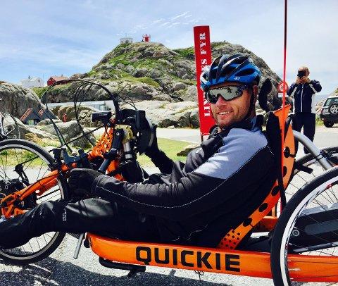 STERK: Trond Hammer har omsider syklet hele Norge på langs. Siste etappe gikk fra Bergen til Lindesnes, med ren arm-kraft.