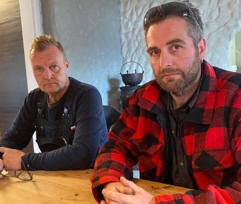 OPPGITT: Knut Christoffersen og Lasse Thomsen er ikke videre blide etter opplevelsen med Color Line denne mandags morgenen.