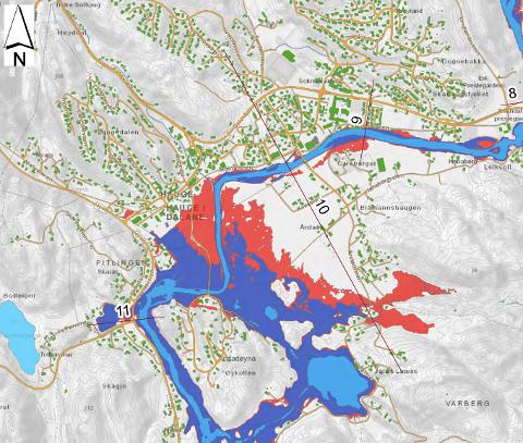 SOKNDAL: Kart som viser hvordan en dambruddsbølge fra dam Mjåvatn vil oversvømme Sokndal sentrum der den røde fargen viser den største mulige utbredelsen med vann som følge av dambruddbølgen og den mørke blå viser flom-områder etter dambrudd. Det inntegnede arealet er kun en grov beskrivelse av følgene av et mulig dambrudd.