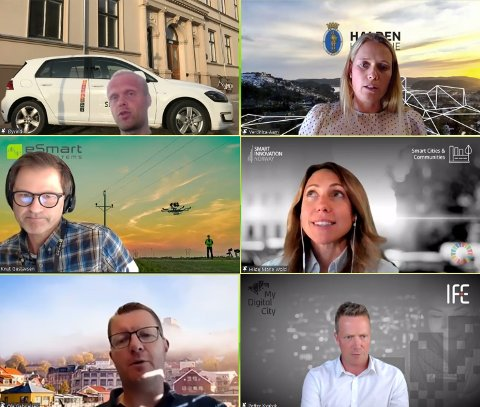 SMART CITY: Aktører fra kommunen og firmaer i Halden deltok i et webinar for amerikanere. Fra venstre øverst: Øyvind Stokseth, Veronica Aam, Knut Gustavsen, Hilde Marie Wold, Ole Gabrielsen og Petter Kvalvik.