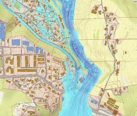 Storflom: Situasjonen ved 1000-årsflom med 40 prosent klimapåslag, 1150 m3/s.illustrasjon: Norconsult