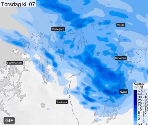 VÆRVARSEL: Det er ventet mye regn i deler av Øst-Finnmark det kommende døgnet.
