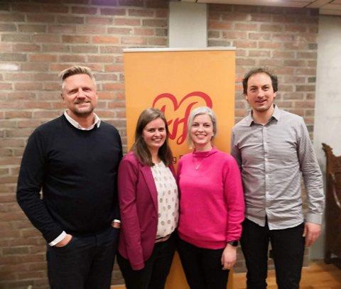PÅ TOPP: Finn Jensen (f.v.), Kasy Børve Galgalo, Ida Kristin Loftheim og Stig Stordal står på de fire første plassene på Moss KrFs valgliste. Sveip over for å se flere bilder.
