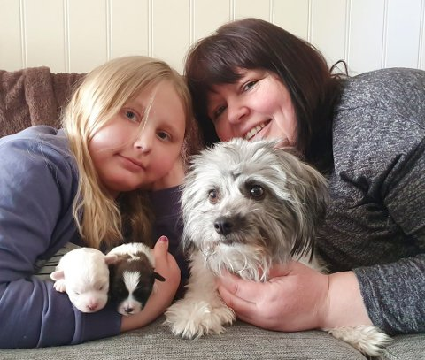 VALPE-LYKKE: Julie Stenbeck Johansen (9) og matmor og mor Anita Stenbeck med Hundemamma Dory og de nye valpene Lille Mille og Lillegutten.