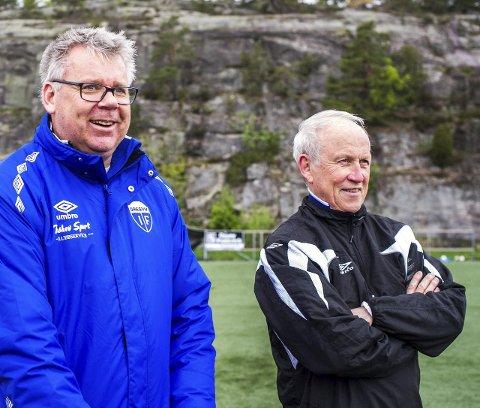 """Nye veier: Arne Morten """"Arnie"""" Johannessen (til venstre), Joar Dahle og Gresvik IF vurderer nå en bylagsmodell for kullene 2007, 2006 og 2005."""