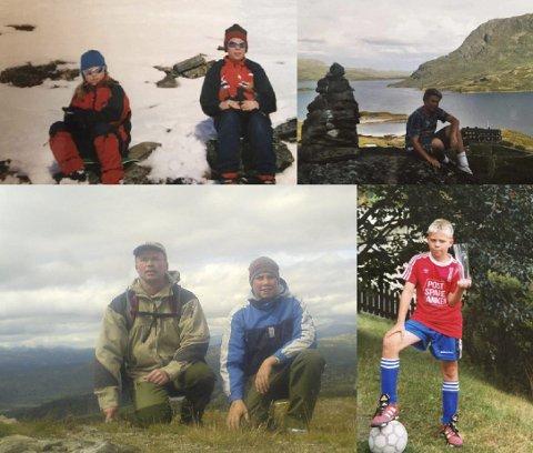 TILBAKE: Magnus Fjeld (22) hadde et aktivt liv med familien før han begynte å legge på seg i 13-14-årsalderen (nederst til venstre). Nå er Magnus i full gang med å finne tilbake etter mange tunge år.