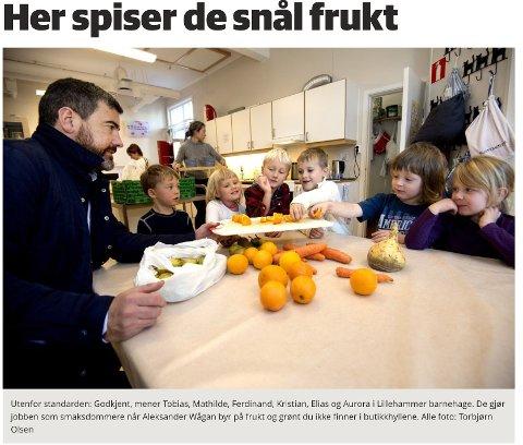 """MDG sitt forslag om """"snål frukt"""" i det offentlige slo godt an i barnehagen."""