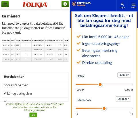 Slik presenteres lånene på selskapenes nettsider.
