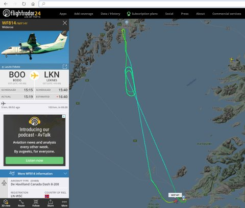 SNUDDE: Flyet klarte ikke lande på Leknes på grunn av mye sidevind.