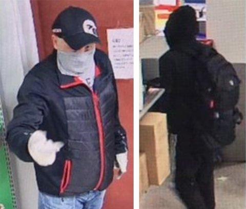 RANERNE: Politiet har lagt ut bilder av to av gjerningsmennene under ranet på Høyden postkontor i Moss.