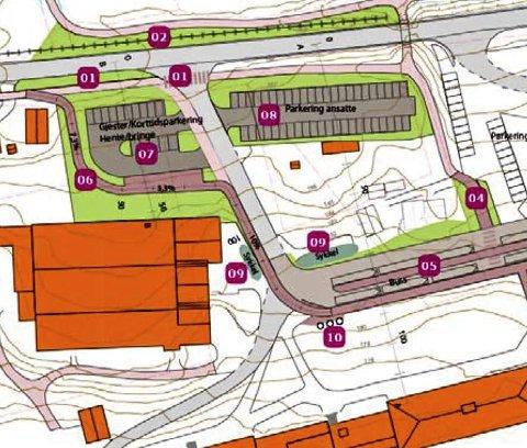 NY LØSNING: En ny, planlagt trafikkløsning ved Fryal skole er tegnet slik. Prosjektet er under planlegging i kommunen.