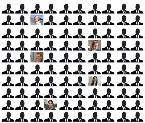 KVINNER I FÅTALL: Eli-Sofie Thorne (fra øverst), Lisbeth Schou Tolpinrud, Ida Arnesen Gulbrandsen, Kristina Fritsvold Nilsen og Gunn Iren Midtbø er de eneste styrelederne som er kvinner i de 100 største bedriftene i Ringerikregionen. Illustrasjon: Rune Smedshammer