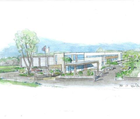 Forslag: Dette er et forslag til hvordan den nye Sandehallen barnehage og idrettspark kan bli seende ut.