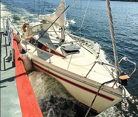 Seilbåten: Dette er seilbåten som ble oppdaget uten noen om bord. Foto: HRS