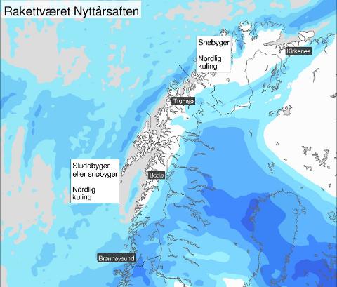 Ifølge Yr ventes det mye regn og vind over hele landet på nyttårsaften.