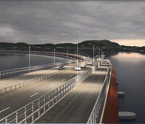 Fergefri E39 helt fra Kristiansand til Trondheim inkluderer planer om flytebro med fire felt over Bjørnefjorden. Det skal brukes svimlende beløp bare til planlegging av Hordfast. Illustrasjon: Statens Vegvesen