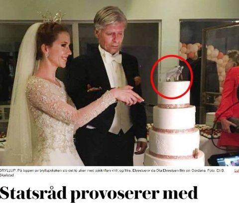 BRÅK: Miljøminister Ola Elvestuen har provosert mange med kakepynten på bryllupskaka.Faksimile fra vg.no