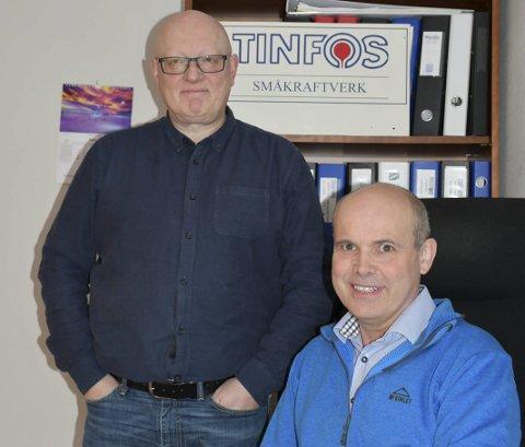 ROSENDAL: Det er desse to, Truls Skeie (t.v.) og Kjell Magne Haugen i Tinfos avdeling Rosendal, som leier utbygginga av Stardalen kraftverk i Jølster. (Foto: Marie Skaaluren).