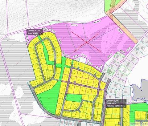 """Det rosa området i kartet tilhører Vestvågøy kommune, og inngår i den eiendomsporteføljen politikerne har vedtatt å selge. Arealet er på 65 mål. Det nye boligfeltet vil ligge øst for det området som på folkemunne kalles for """"Bangladesh""""."""