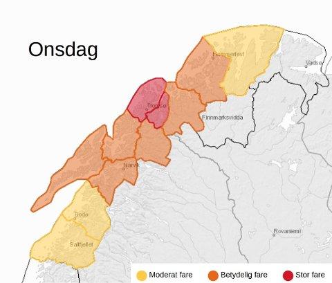 RØDT NIVÅ: NVE oppjusterte skredfaren i deler av Troms onsdag. Illustrasjon: Meteorologisk institutt