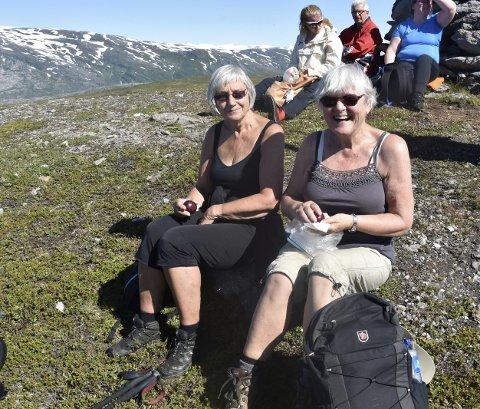 Niste i sola: Vigdis Nygaard og Tordis Moneen Villinge var noen av de 38 spreke turgåerne som fant veien opp til Slettafjellet med Rana Blad forrige lørdag. Foto: Marie Skonseng