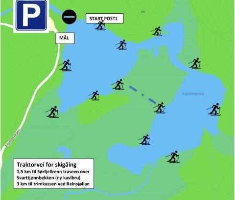 SKIQUIZ: Her er kartet over hvor de 12 ulike postene i skiquizen er plassert rundt Elgsbåstjønna.