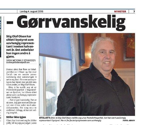SVAR: Innleggsforfatteren svarer på artikkelen om Stig Olav Olsen i AAB, lørdag 3. august.fOTO: fAKSIMILE