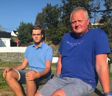 Halfdan Brugger Bjånesøy her med sønnen på 17 år.