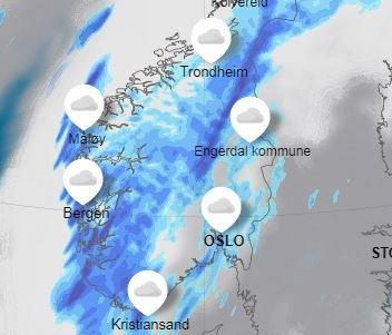 Flere nedbørsområder passerer Østlandet de neste tre dagene.