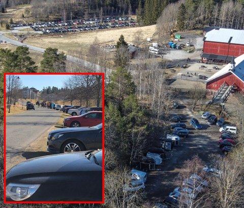 Disse bildene er tatt ved Losby ved 15-tida, etter at det verste kaoset på Losby hadde gitt seg. I forkant var det knapt mulig å stoppe bilen. Folk kjørte i kø og fant ikke parkeringsplassern. FOTO: PRIVAT / VIDAR SANDNES
