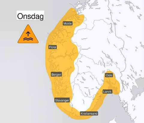 FAREVARSEL: På kartet er det merka med fargen oransj der det er fare for høg vasstand. (Skjerdump på Metereologene på Twitter)