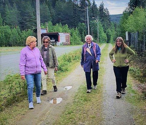 I gang: Trimmere på tur ved Skutemobanen i Sør-Aurdal. F.v. Sigrid Lillian Jensrud, Kari Grimsrud, Ruth Håkenåsen og Anne Karin Eid.