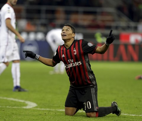 AC Milan's Carlos Bacca celebrates at the end of a Serie A soccer match between AC Milan and Cagliari, in Milan's San Siro stadium, Italy, Sunday, Jan. 8, 2017. AC Milan won 1-0 thanks to a goal by Bacca. (AP Photo/Luca Bruno)