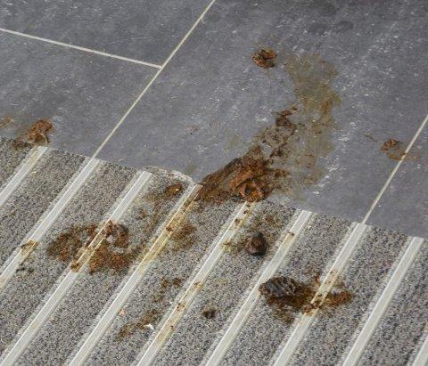 VISITTKORT: Lite hyggelig når folk gjør sitt fornødne på gulvet foran minibanken.