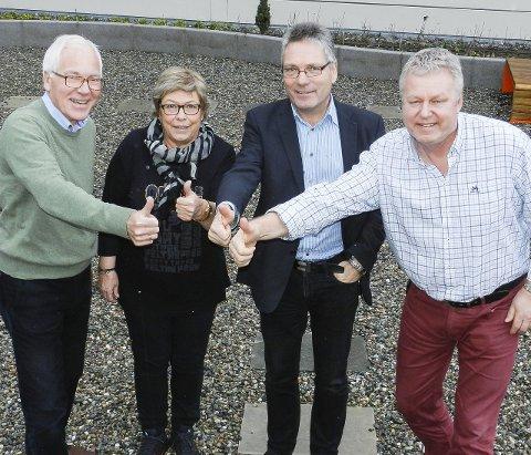 TOMMEL OPP: Kjell Hagen (fra venstre), prosjektleder Marit Dahl, Thor Edquist og Hans-Petter Kjøge er enige om at Halden har mange flotte ildsjeler. Arkivfoto: ANja Lillerud